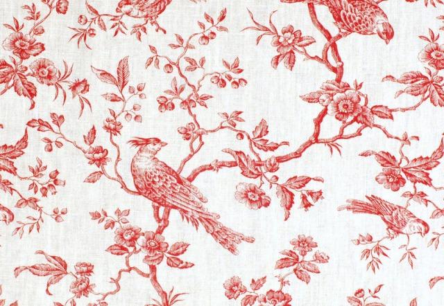 Accueil - Papier peint toile de jouy rouge ...